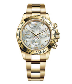 Rolex Daytona yellow gold with white pearl dial