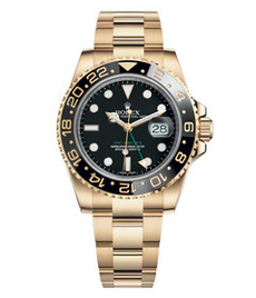 Rolex GMT Master II yellow gold with black dial