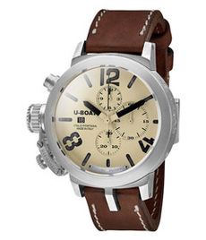 U-boat Classico Silver 48mm chrono with white dial
