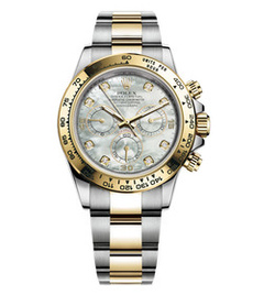 Rolex Daytona steel and gold with white pearl dial
