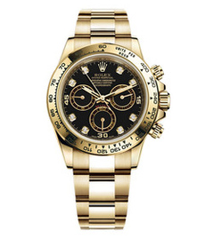 Rolex Daytona yellow gold with black dial and diamonds