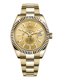 Rolex Sky Dweller yellow gold with champagne dial