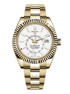 Rolex Sky Dweller yellow gold with white dial