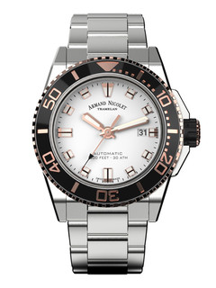 Armand Nicolet JS9 Date steel 44 mm with white dial