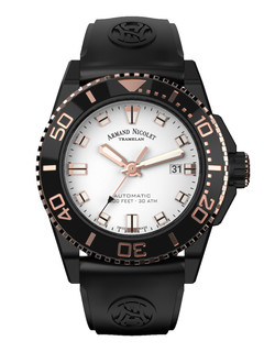 Armand Nicolet JS9 Date steel+pvd 44 mm white dial