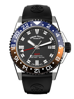 Armand Nicolet JS9 GMT steel 44 mm with black dial