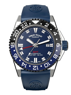 Armand Nicolet JS9 GMT steel 44 mm with blue dial