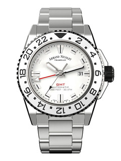 Armand Nicolet JS9 GMT steel 44 mm with white dial