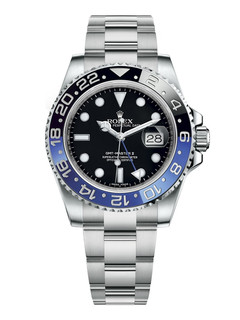 Rolex GMT Master II steel batman with black dial