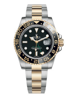 Rolex GMT Master II steel and gold with black dial
