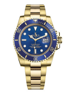 Rolex Submariner date yellow gold with blue dial