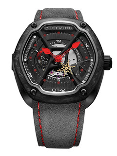 Dietrich organic time steel with red hands and carbon
