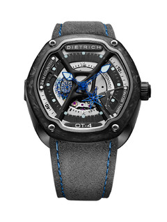 Dietrich organic time steel with blue hands and carbon